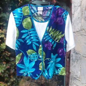 Vintage 80s floral crop top with vest, size M/L